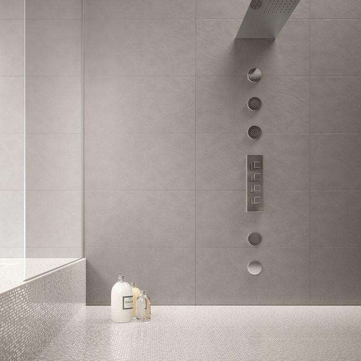 Harmaa kylpyhuone. Laatat ABL-Laatat