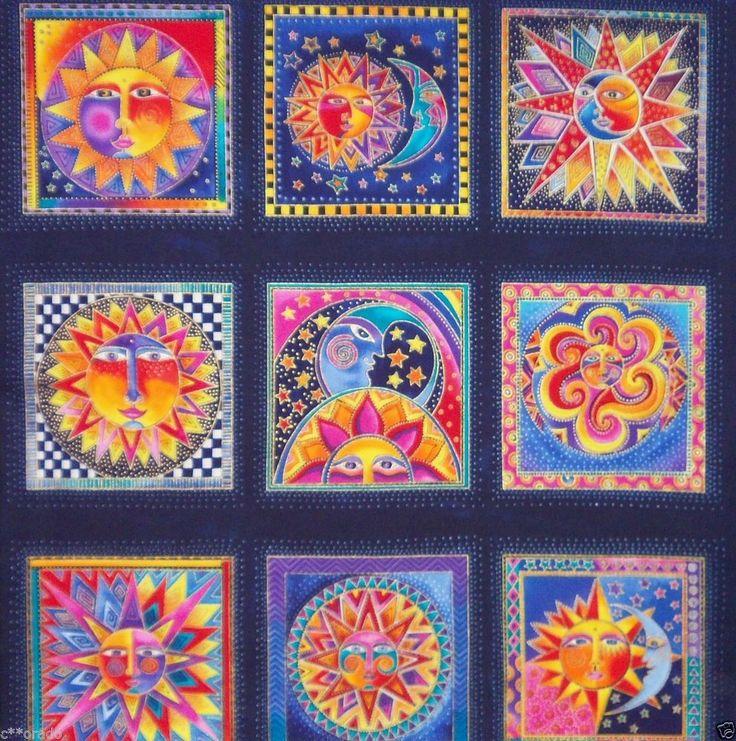 Rare celestial dreams laurel burch fabric panel sun moon for Sun moon stars fabric