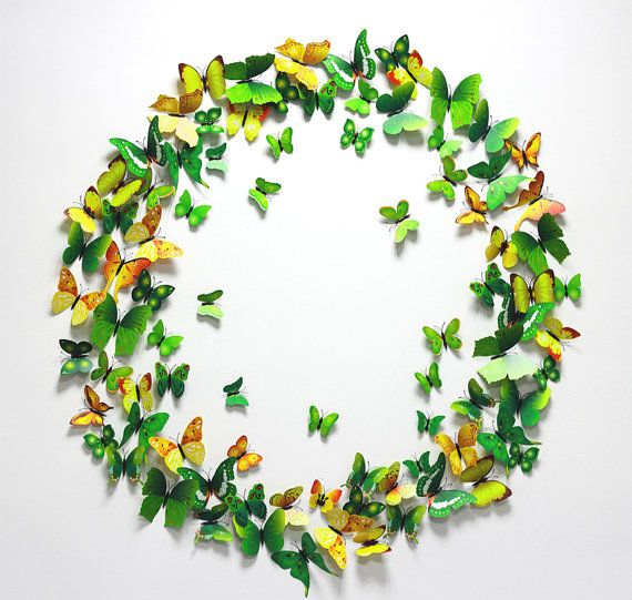 Green and yellow  wall sticker 3D simulation Butterflies Wall