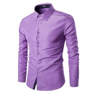Mens Fashion Cotton Solid Color Turn-down Collar Casual Long Sleeve Dress Shirt at Banggood
