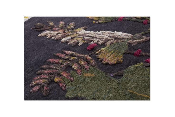 savage flowers blossom #Una composizione di fiori secchi a più livelli   realizzato utilizzando materiali preziosi.  Un tappeto senza lana che diventa un quadro. http://www.nodusrug.it/it/collezione_tappeti_scheda.php?ID=FLOW3
