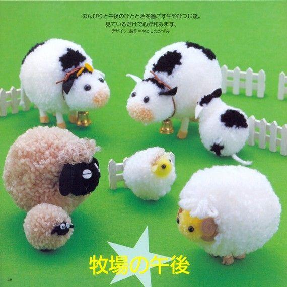dieren - schaap en koe - pompon