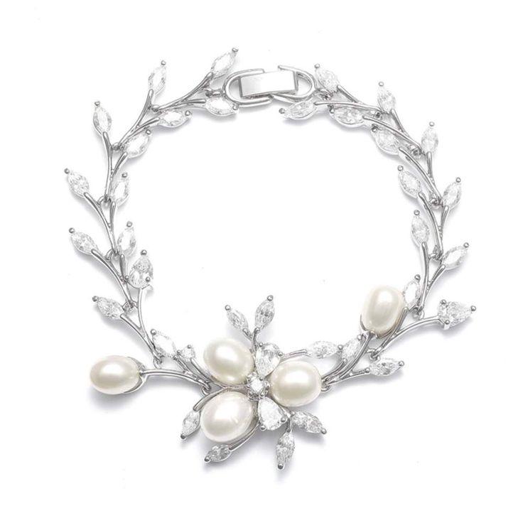 Armband bruid - Bruidsarmband - Zilveren armband - Parel armband - Swarovski armband - Bracelet Silver