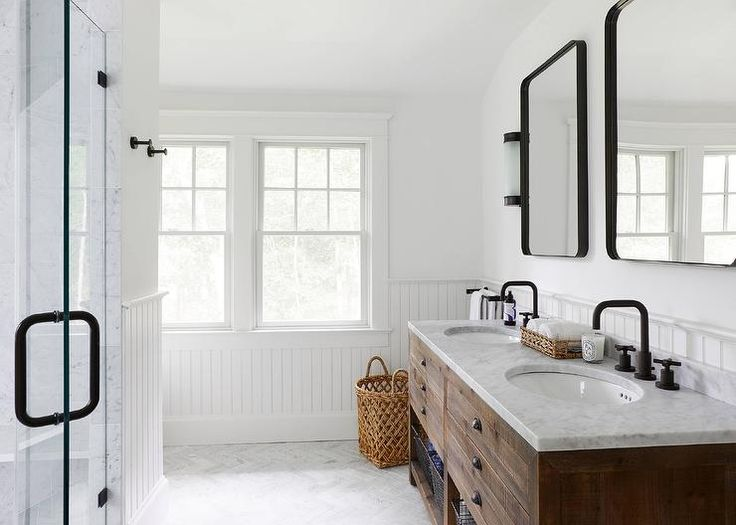 Boys bath-  inspiration photo.  Wood vanity, black rounded corner medicine cabinets and black hardware.  Basketweave floor