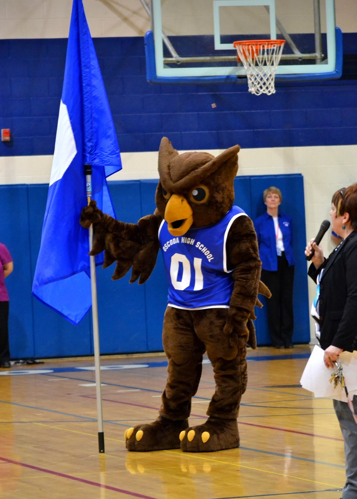 Onor with the team flag- made for Oscoda High School!