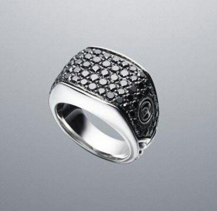 David Yurman black diamond chevron mens ring