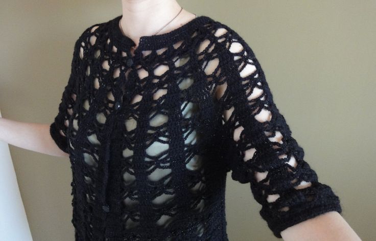 Black metalic sim silver  crocheted cardigan 3season jacket short sleeve bohemian romantic button up ancora nightdress luxury precious knit by TheoMez on Etsy