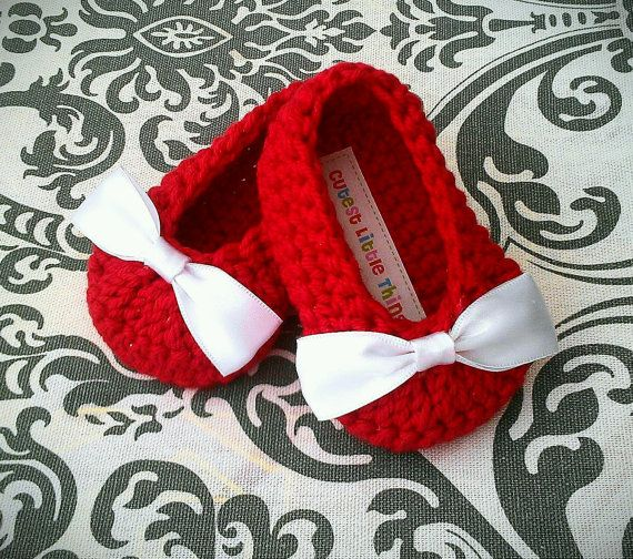 Red Crochet Baby Booties White Bow Crochet by CutestlittleThing