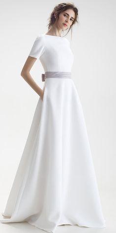 [125.99] Exquisite Satin Bateau Neckline Natural Waistline A-line Wedding Dress With Bowknot