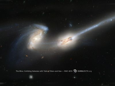 """When galaxies collide--these are two galaxies that are in the process of crashing together. Experts say they will eventually become one galaxy. Their official name is NGC 4676 but astronomers call them """"the mice"""" because of their tails.Spaces Galaxies Stars Univers, Collider Galaxies, Stars Ngc, Amazing Image, Trail, Options Sets, Wallpapers, Galaxies Leaves, Ngc 4676"""