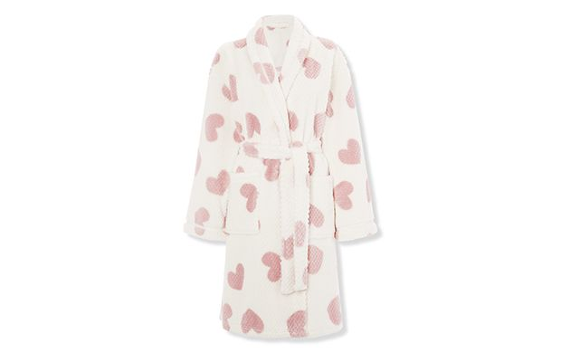 """Heart Print Robe. """"Relax and unwind in this super-soft robe - the heart print design adds a playful touch."""""""