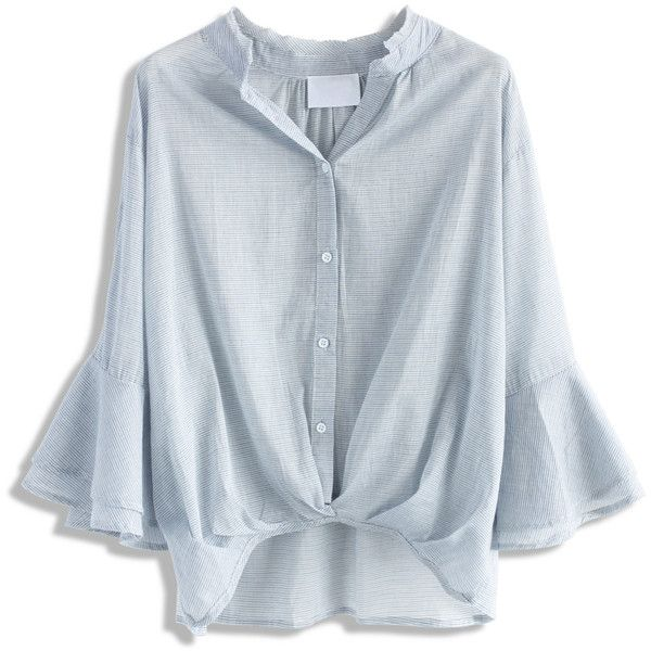 Chicwish Pinstripe Twist Smock Top with Bell Sleeves ($38) ❤ liked on Polyvore featuring tops, chicwish, blue, smocked top, tier top, twist top, ruched tops and shirred top