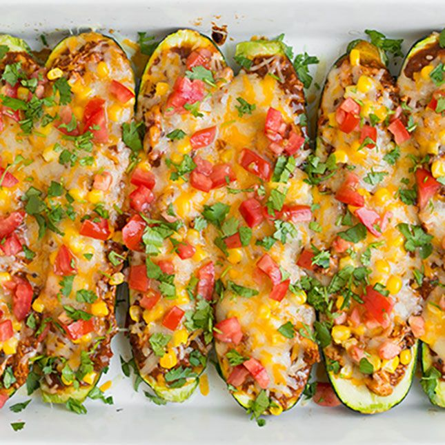 Chicken Enchilada Zucchini Boats.
