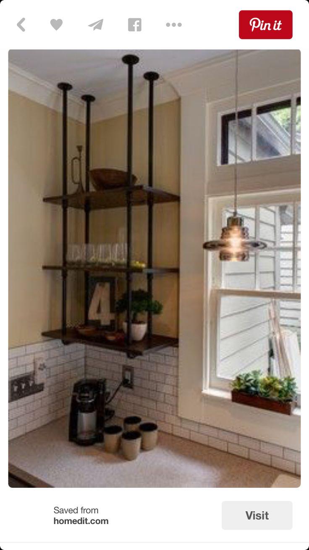 Handing shelves--plumbers pipe