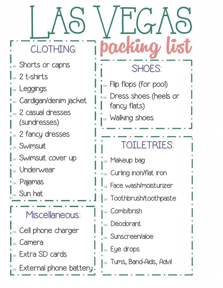 How to Pack for Las Vegas + a Free Printable Checklist