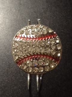 Baseball Crystal bracelet. Hinged cuff. Baseball jewelry created with all crystals. $15.00