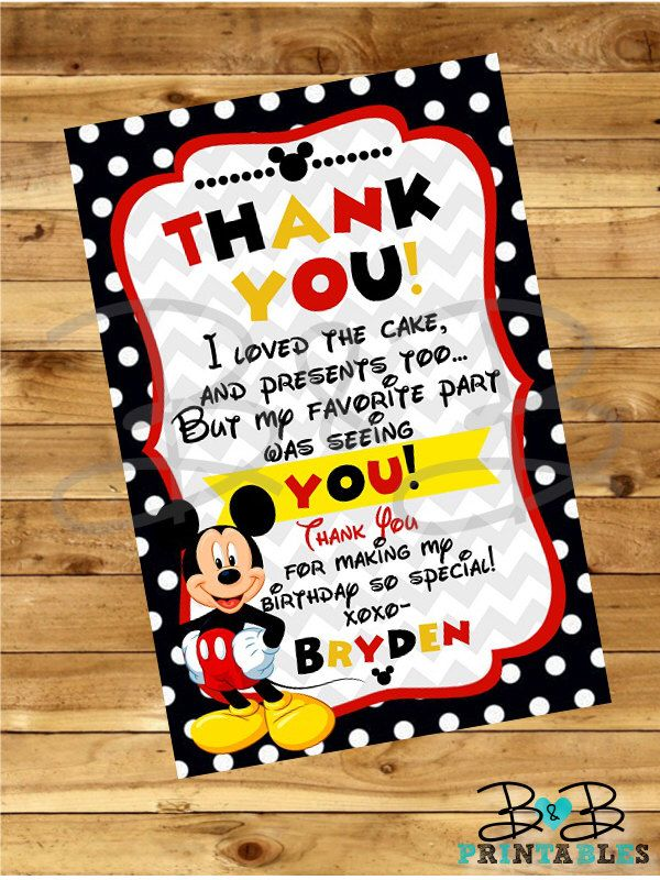 Mickey Mouse Thank You Card. Mickey Mouse Invitation. Mickey Mouse Party. Thank You Card by BandBPrintables on Etsy https://www.etsy.com/listing/217478377/mickey-mouse-thank-you-card-mickey-mouse