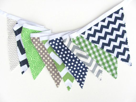 This listing is Spencer, my navy blue, green and soft grey fabric bunting banner. The designer fabric flags feature chevron, plaid and polka dot