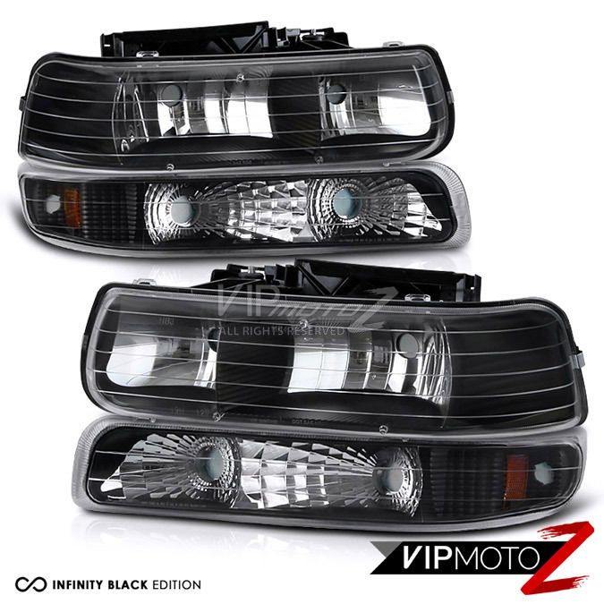 Chevy 99-02 Silverado 1500/2500/3500 Black Headlight+Bumper Parking Lamp 4PC Set #VIPMOTOZ