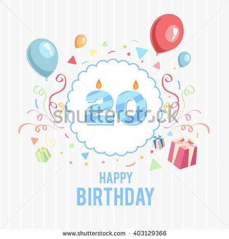 Happy birthday card with candle number - stock vector