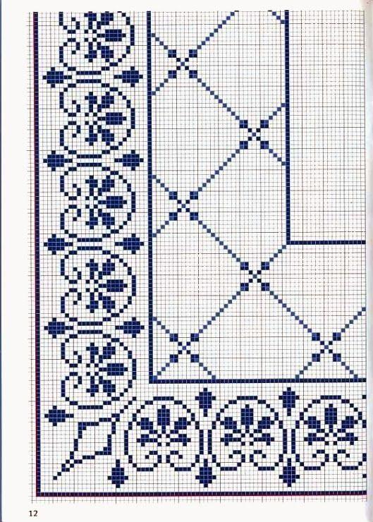 Ricami, lavori e centinaia di schemi a punto croce di tutti i tipi, gratis: raccolta di schemi a punto croce - cornicette e disegni in blu