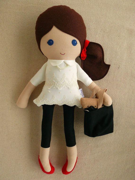 Reservado para Nikole  tela muñeca trapo muñeca por rovingovine
