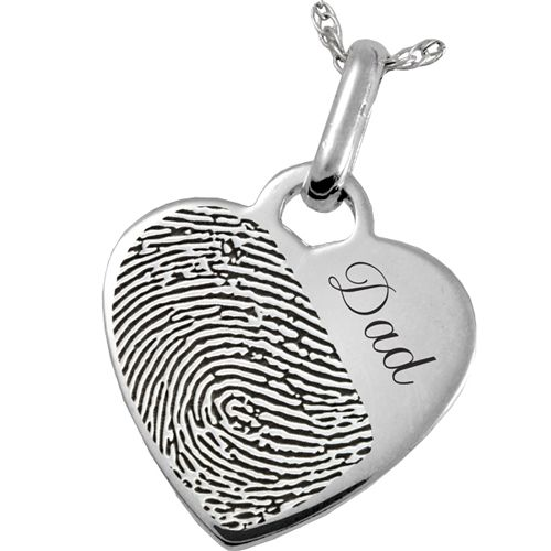 Fingerprint Memorial Jewelry: Sterling Silver Heart Pendant- Halfprint with