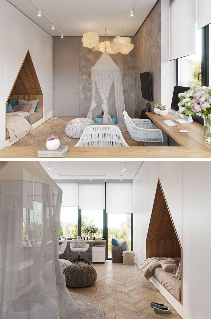 O projeto da designer ucraniana Alesya Kasianenko também conta com um destaque feito sob medida. Ao longo de uma parede do quarto, há armários que vão do chão ao teto e fornecem bons espaços para armazenamento.