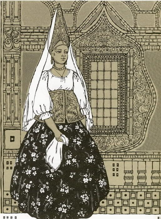 Illustration of a Russian traditional costume from Yaroslavl Province.