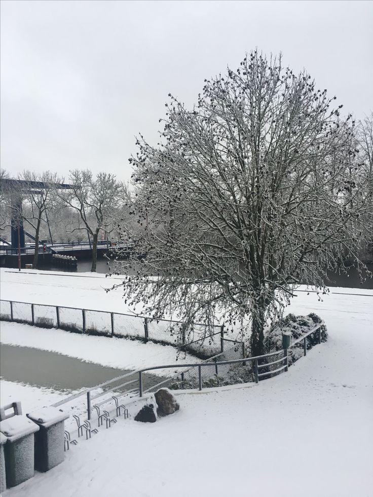 Uitzicht vanaf villa Johanna op de blauwe brug van jutphaas