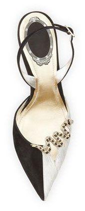 Rene Caovilla Bicolor Snake-Brooch Slingback Pump, Black/Silver ~ Cynthia Reccord