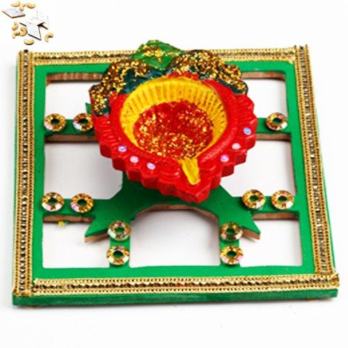 Diya with Diya tray with 500 gms Kaju Katli - Online Shopping for Diyas and Lights by Ghasitaram Gifts