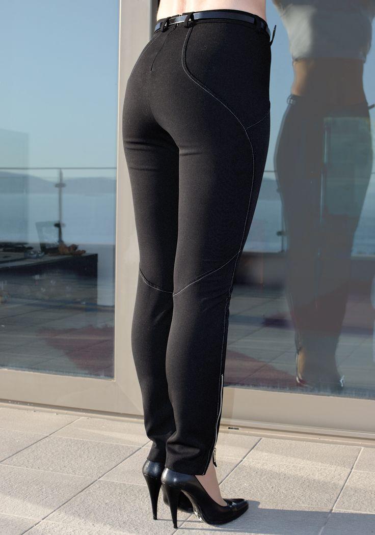 BLACK CIGARETTE TROUSERS #trousers #black #zipper #Stylati