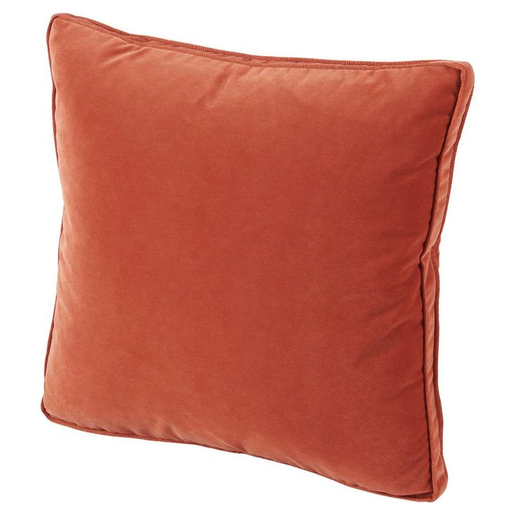 Tildy Classic Tangerine Orange Velvet Pillow - 22x22 | Kathy Kuo Home