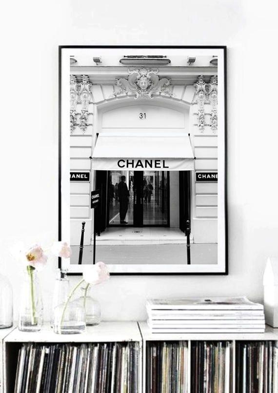 Chanel boutique poster. 31 rue Cambon Boutique Paris. Vintage