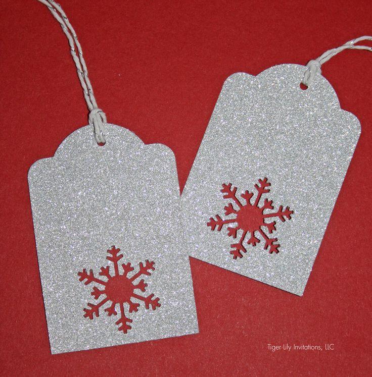 Silver Glitter Snowflake Christmas Tags - set of 5 by TigerLilyInvitations on Etsy https://www.etsy.com/listing/212825141/silver-glitter-snowflake-christmas-tags