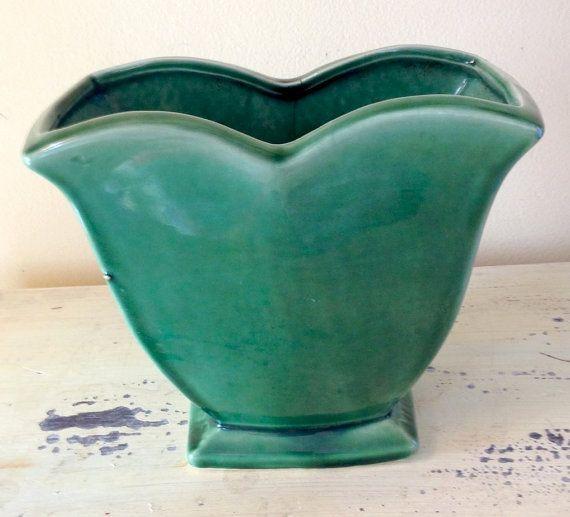 Vintage Vase Mccoy Green Tulip Glaze Pottery Ceramic Vintage Ceramic Glaze And Ceramics