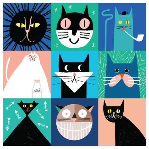 gatos, ilustración de Rob Hodgson