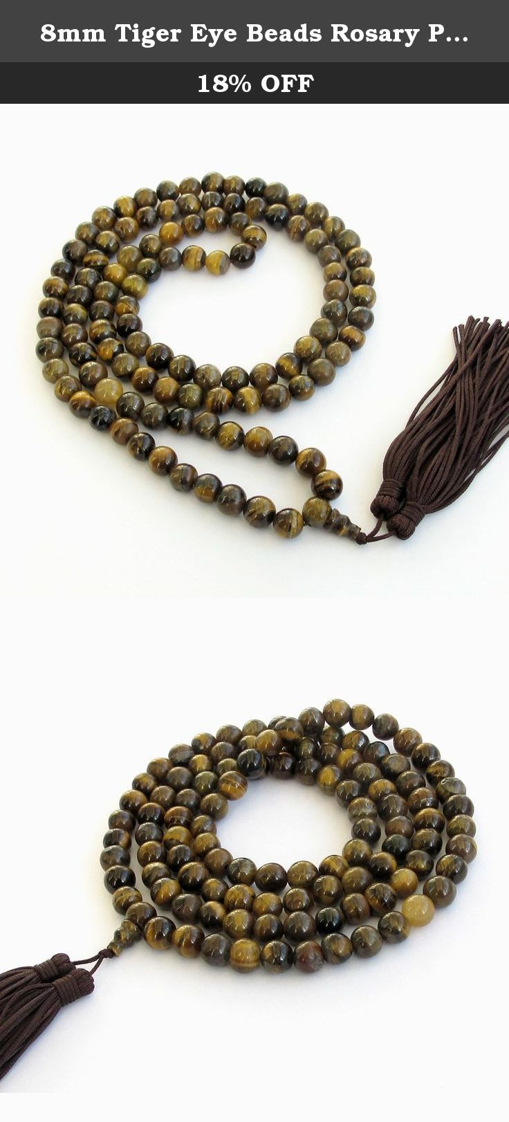 8mm Tiger Eye Beads Rosary Prayer Meditation 108 Japa Mala Necklace. This mala made of 108 8mm tiger eye beads. Each beads were handpicked by us and strung on a quality string. It is good meditation and counting practice.