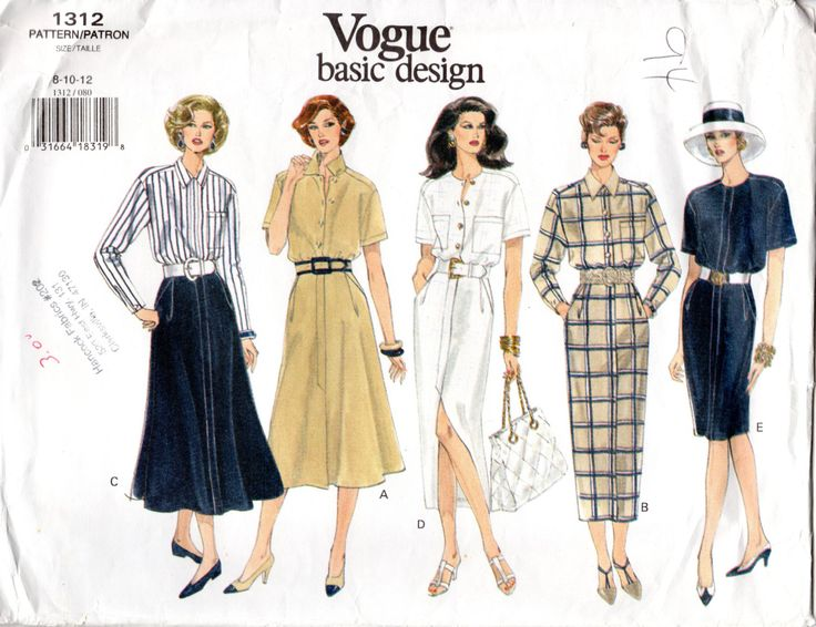 1990s Womens Shirtdress Pattern - Vintage Vogue 1312 - Bust 31 32 34 UNCUT FF by ErikawithaK on Etsy