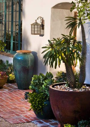 Drought tolerant colorful pots frame entry way of this