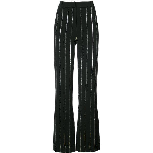 Mugler silver stripe palazzo pants ($4,090) ❤ liked on Polyvore featuring pants, black, palazzo pants, silver pants, striped trousers, thierry mugler and silver trousers
