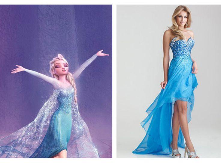 WWEW: What Would Elsa Wear? The fierce Snow Queen would rock a blue sequins and a peek-a-boo hemline like this sparkly high-low dress.  Night Moves Sparkly Sequined Strapless High Low Prom Dress, $378, missesdressy.com   - Seventeen.com
