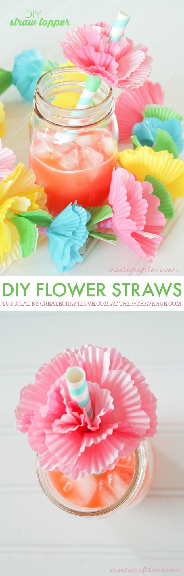 DIY Crafts - Add flare to your next summer gathering with these easy to make DIY Straw Toppers! // Blumen Topper für Strohhalme aus Muffinförmchen