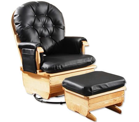 Cushioned Wooden Glider Chair with Ottoman in PU Leather $199.95