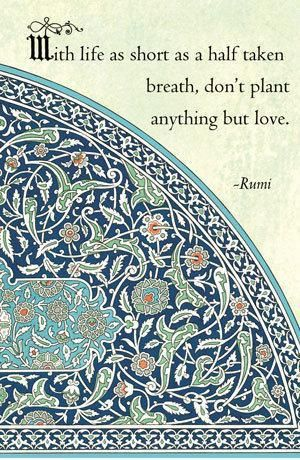 """With life as short as a half taken breath, don't plant anything but love."" -Rumi"