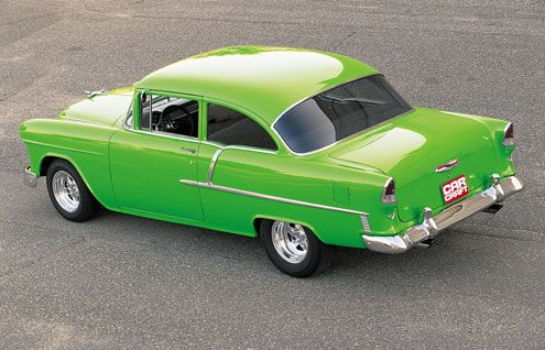 1955 Chevrolet Del Ray 150 Series in Satin Pea Green W/ gold pearl clear.. AKA: Kermit the frog...