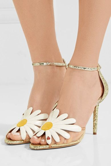 Heel measures approximately 95mm/ 4 inches Gold glittered leather, beige mesh Buckle-fastening ankle strap Made in Italy
