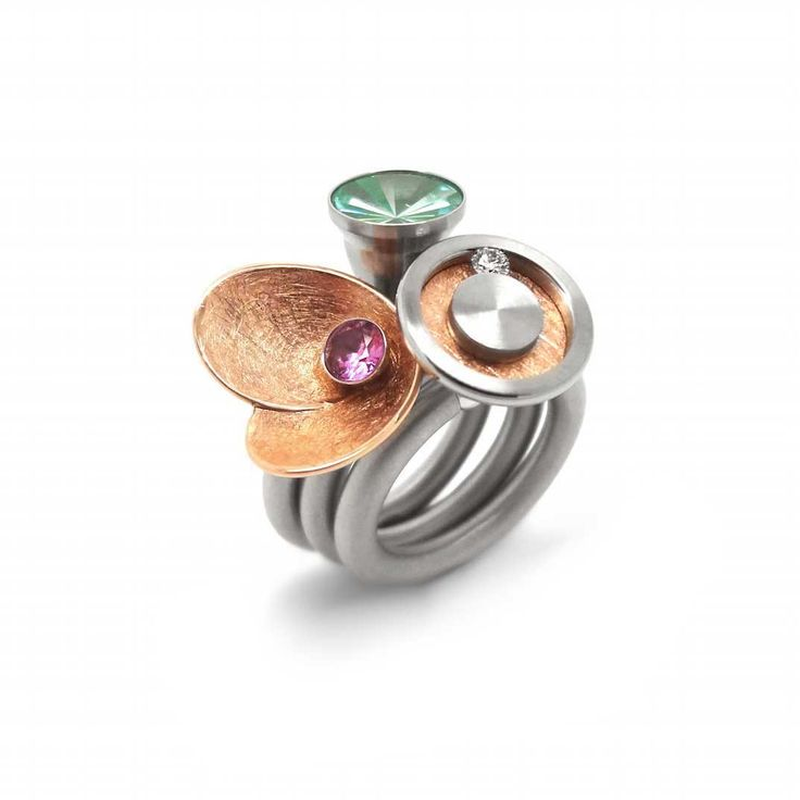 www.ORRO.co.uk - Pur Swivel Rings - Rose Gold & Pink Sapphire Steel Ring Set - ORRO Contemporary Jewellery Glasgow...