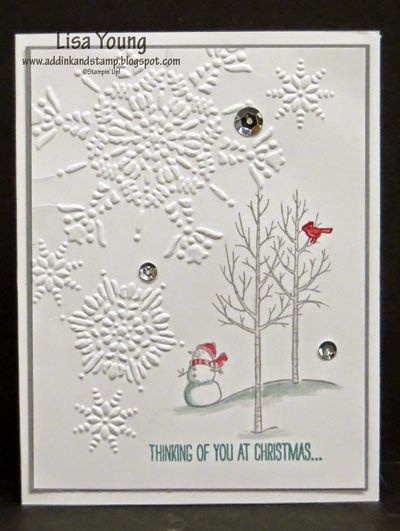 Add Ink and Stamp: White Christmas CCMC328 | All supplies are Stampin' Up! Stamps: White Christmas; Card Stock: Whisper White, Smoky Slate; Ink: Smoky Slate, Cherry Cobbler, Lost Lagoon Other: Blender Pen, Frosted Sequins, Big Shot, Northern Flurry embossing folder